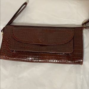 Handbags - Talbots brown leather clutch/wristlet VGC